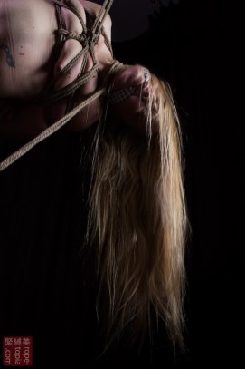 Iongantas. Shibari bondage and nasty neck rope wax torture inverted suspension bondage