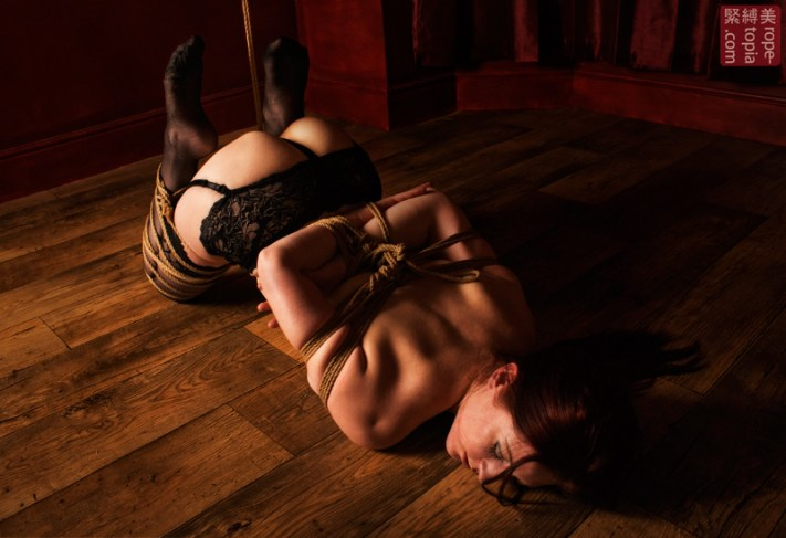 Shibari bondage crotch rope partial suspension