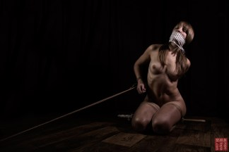 Gagged on the floor with tenugui shibari