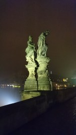 Statues on the Charles Bridge in Prague.