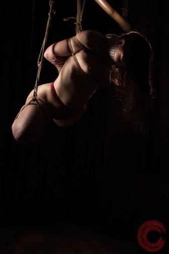 Shibari suspension bondage from bamboo. Bound in fundoshi, gagged with tenugui.