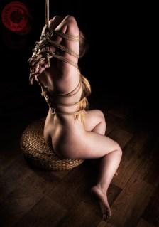Ankrah Hands and fingers bound (yubi shibari) hair bondage, rope gag, kinbaku feeling