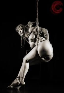 Nina Hartley in Shibari bondage partial suspension. Image Clover, Rope by WykD Dave #WykDRope