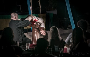 Crowd enjoying Kinbaku show in Jamaica by WykD Dave & Clover