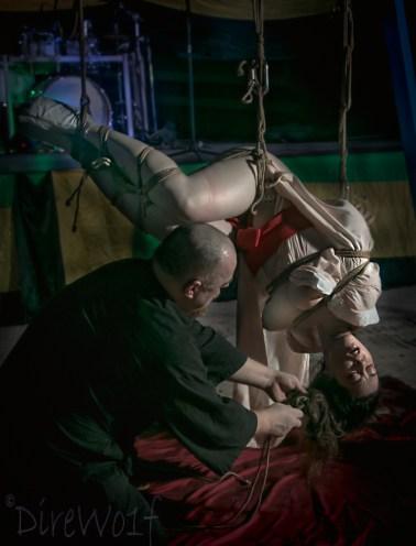 Shibari inversion bondage, hair tie, bamboo suspension