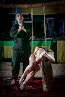Partial suspension, tongue clamp, hot work, intense shibari in Jamaica with WykD Dave & Clover