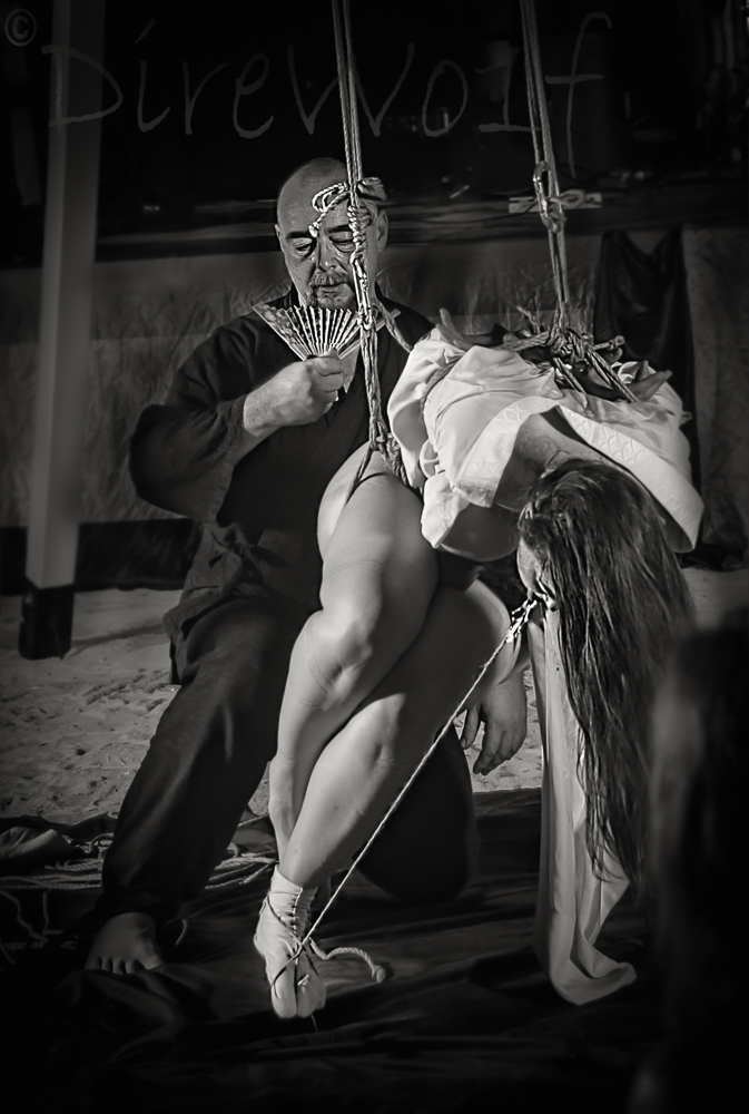 Hot work, hot girl, tongue clamp, kimono shibari partial suspension