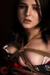 Constrictive breast binding shibari bondage. Model Alexa