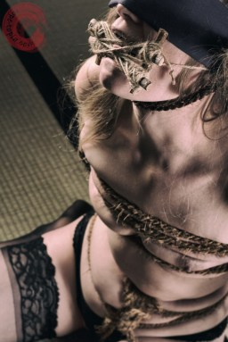 Harsh rope, neck rope, tongue bondage, bound breasts.