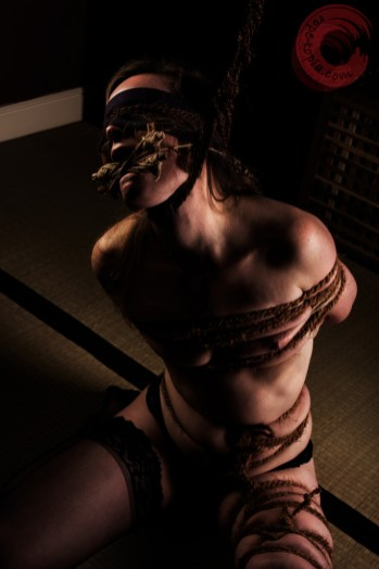 Hard tied with hard neck rope and tongue bondage.