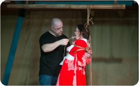 Shibari, Kinbaku performance at BeachBind at Hedonism in Jamica