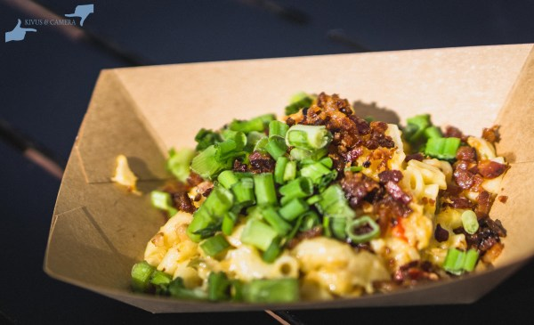 Loaded Mac n' Cheese with Nueske's pepper bacon, cheddar cheese, peppers and green onions