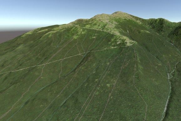 A 3D rendering of the summit of Mt. Washington, including watershed boundaries and river lines.