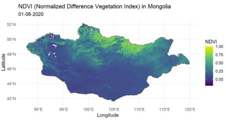 A map of Mongolia coloured by the Normalized Difference Vegetation Index(NDVI). The map shows the North of Mongolia to have a higher NDVI(coloured in yellow) compared to the South(coloured in dark blue)