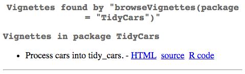 Browse TidyCars Vignettes