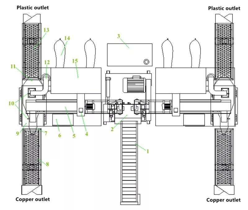 Large Capacity Industrial Metal Wire Granulator Separating