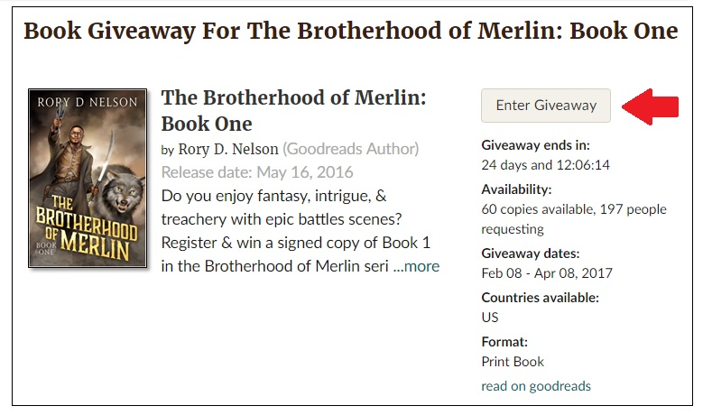 Goodreads Giveaway for The Brotherhood of Merlin: Book One