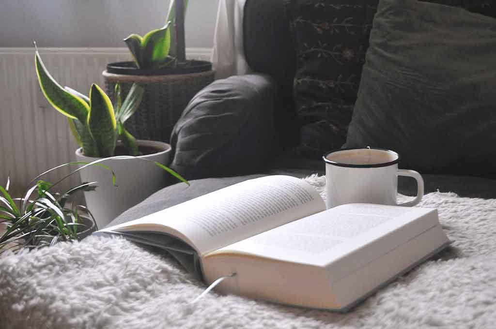 Ein Buch gemeinsam mit einer heißen Tasse Tee auf einem Sessel.