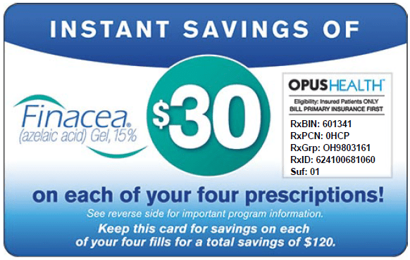 Finacea Coupon, Save $30 per Prescription