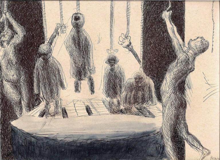 orlando massacre, pen and ink drawing, goya inspired