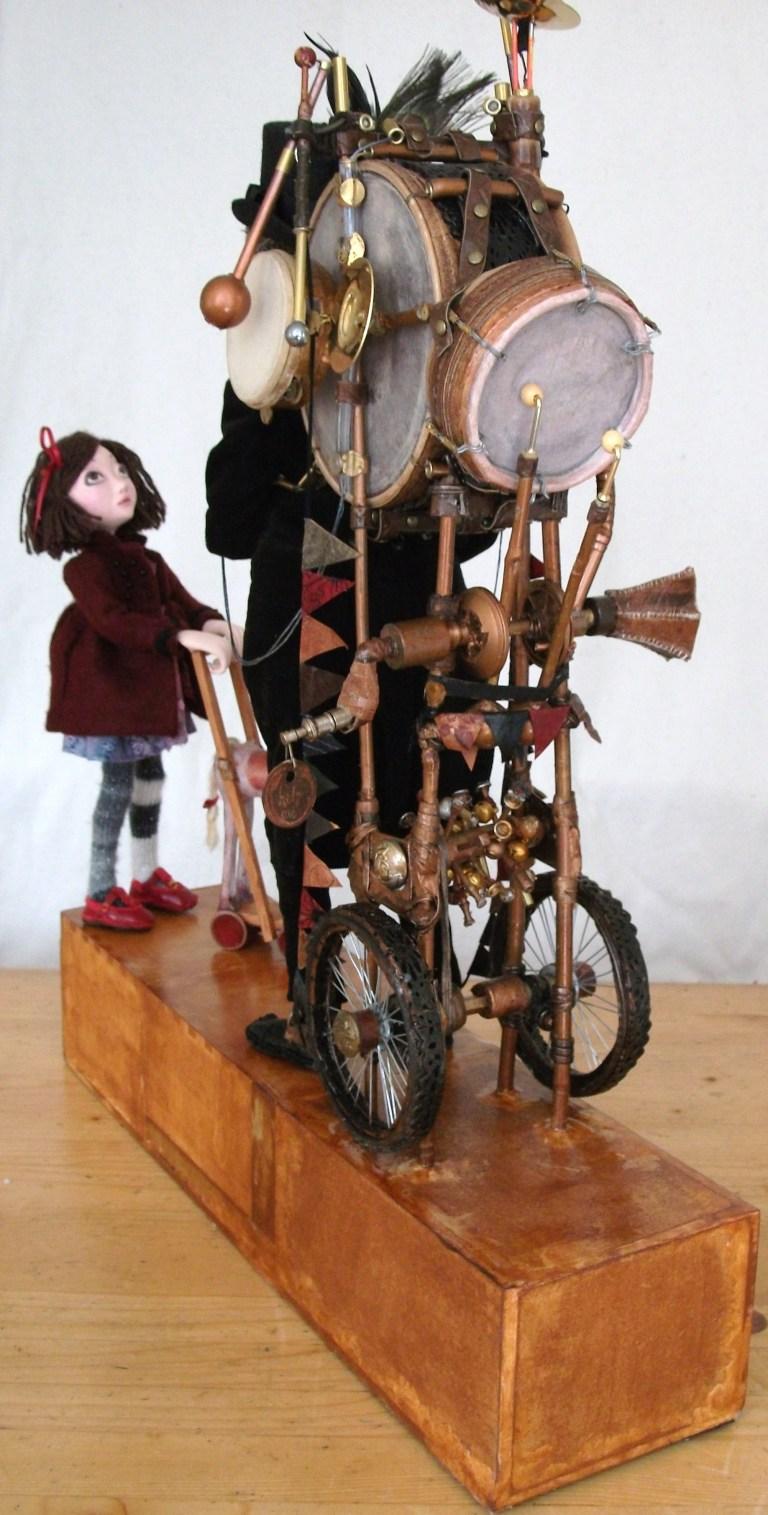 View of Sam Cox Moving Sculpture Professor Mercurio Mann and his extraordinary Ambulating Auditarium contraption