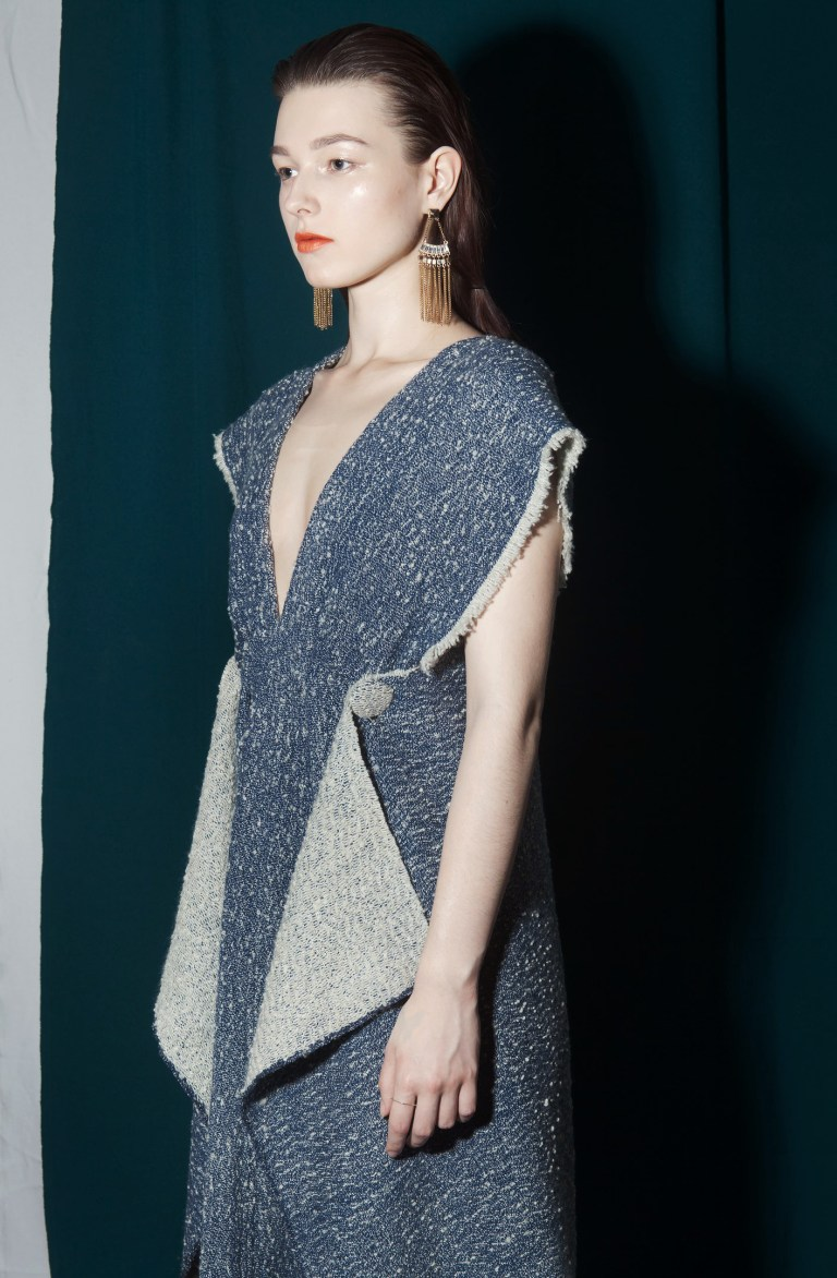Blue Wool Dress by Russian Artist and Designer Vlada Manyatovskaya