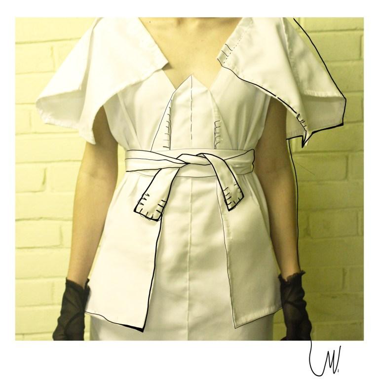 Front white dress by designer Vlada Manyatovskaya