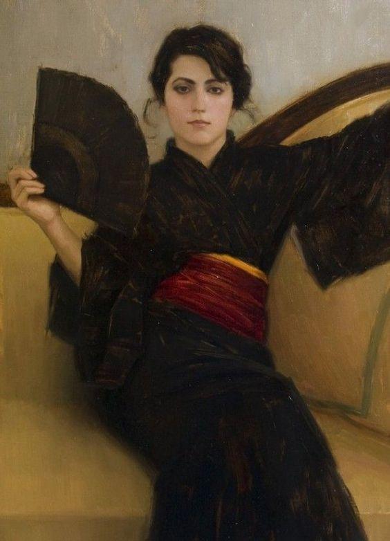 Portrait painter Aaron Westerberg picture Black Kimono