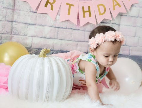One Year Cake Smash Baby Girl Pink Flower Dress Crawling