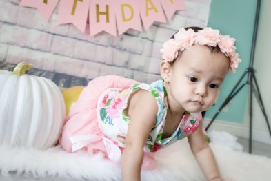 One Year Cake Smash Baby Girl Pink Flower Dress Crawling