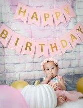 Baby Girl One Year Cake Smash Pink Flower Dress Sitting