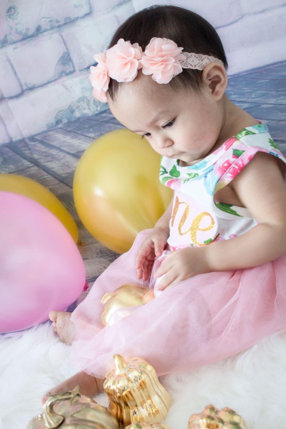 One Year Cake Smash Baby Girl Pink Flower Dress Sitting