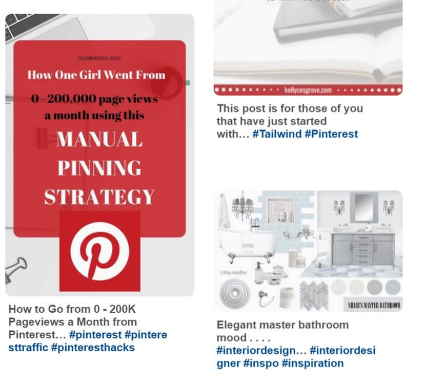 ejemplos hashtags en Pinterest