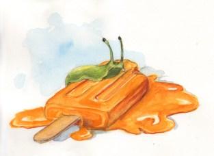 Slug Upon Popsicle - Watercolor