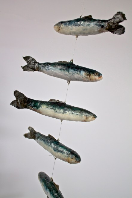 Sardines in a Can Mobile, Papier mâché collage with watercolor
