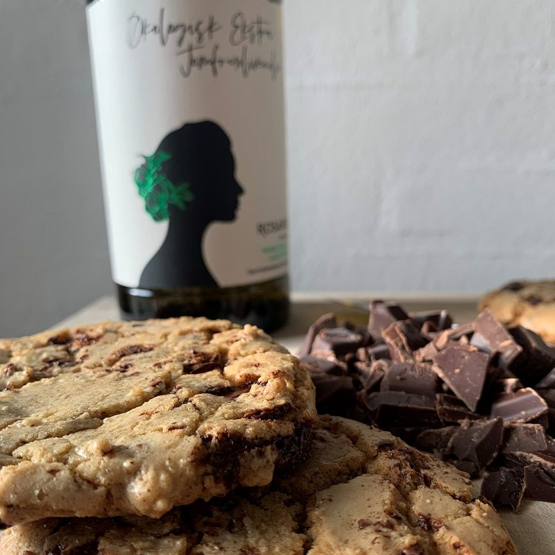 Chocolate Chip Cookies med olivenolie
