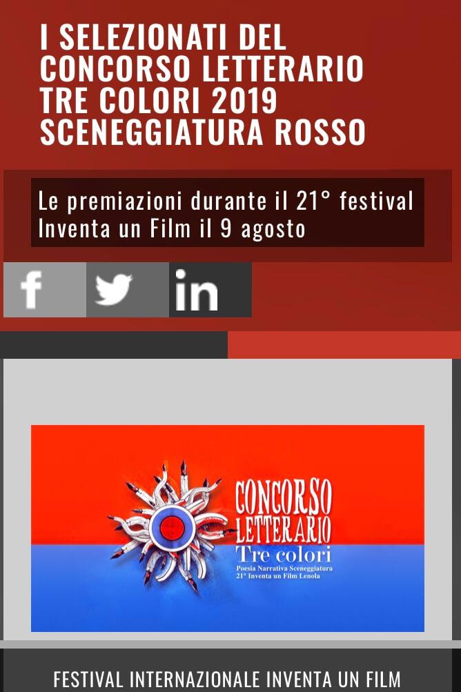"""Concorso letterario """"Tre colori 2019"""" per la categoria SCENEGGIATURA (ROSSO)"""