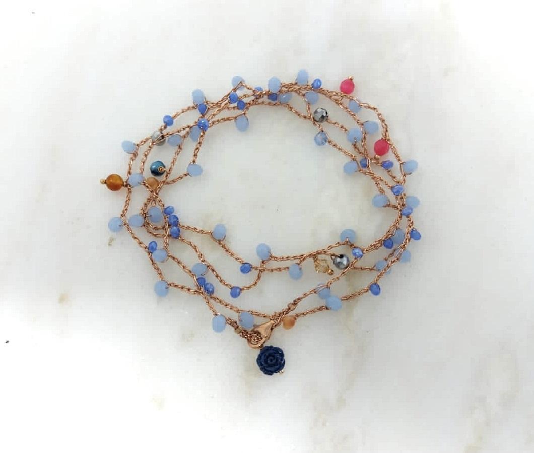 Cavigliera Azzurro Pervinca Rosa Rosa Bijoux
