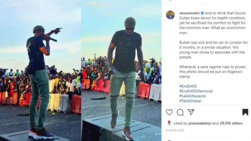 """""""Sound Sultan knew about his health condition, yet he sacrificed his comfort to fight for the common man"""" – Reno Omokri writes as he shares photo of the late singer at 2020 #EndSARS protest"""