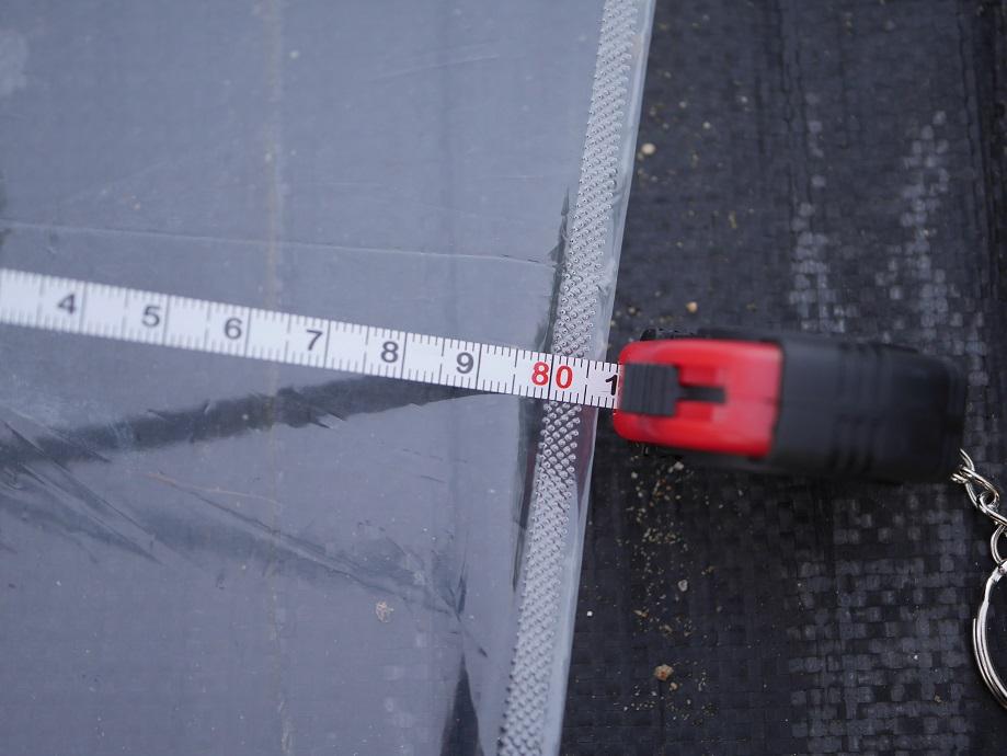 100円ショップのビニール傘を広げるとちょうど80㎝であることがわかる。成人男性では小さい大きさであることがわかる。