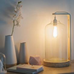 Lampe cloche en verre et bois, FRESNEL, 119,90€
