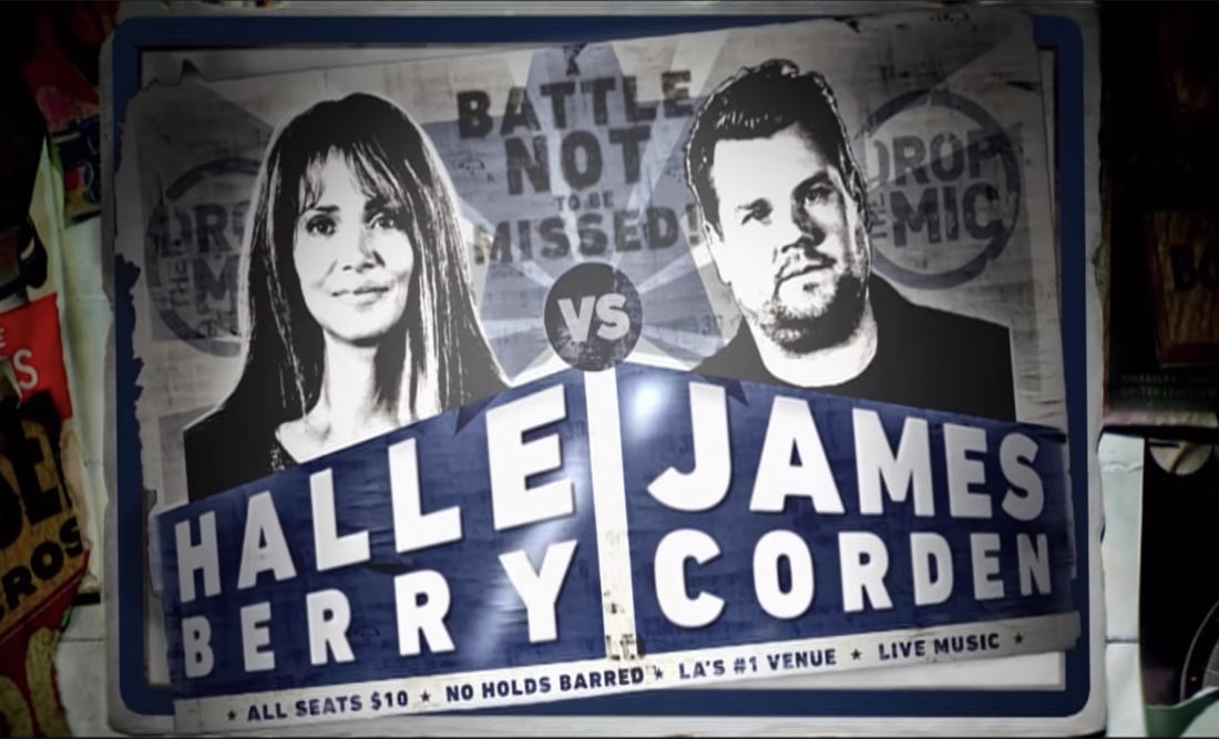 Watch Halle Berry Own James Corden in a Rap Battle on Drop the Mic