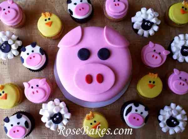 Pig Smash Cake Barnyard Cupcakes