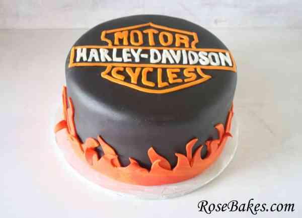 Harley Davidson Black Fire Cake 2 Rose Bakes