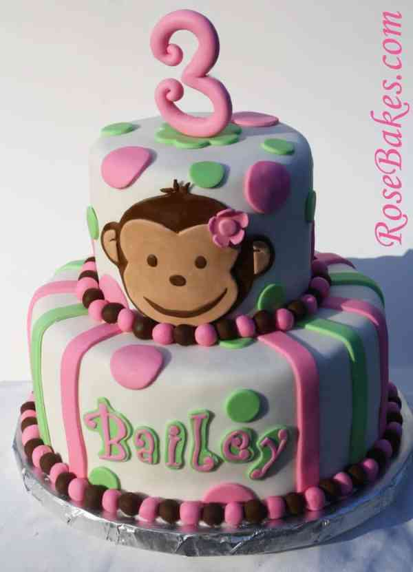 Pink Mod Monkey Cake - Rose Bakes