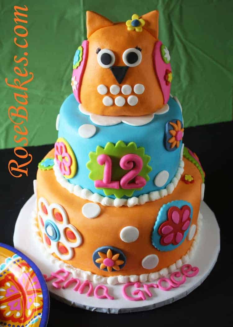 Bright Flowers Amp Owl Cake My Favorite Cookie Fondant Cutters