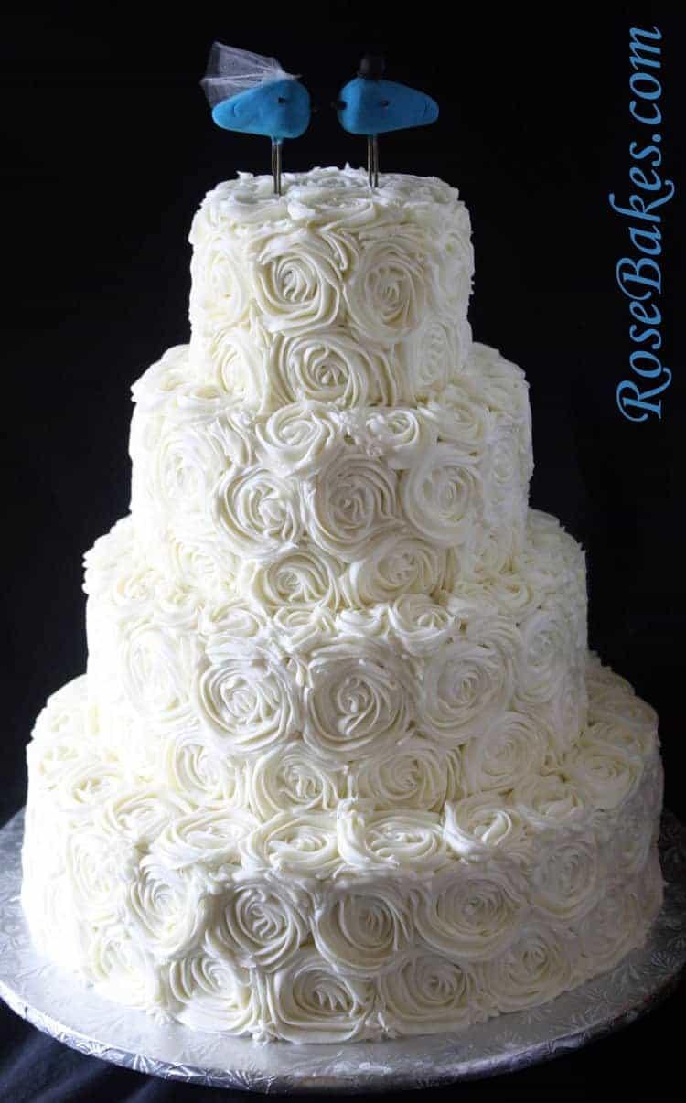 Ivory Buttercream Roses Wedding Cake With LoveBirds Cake