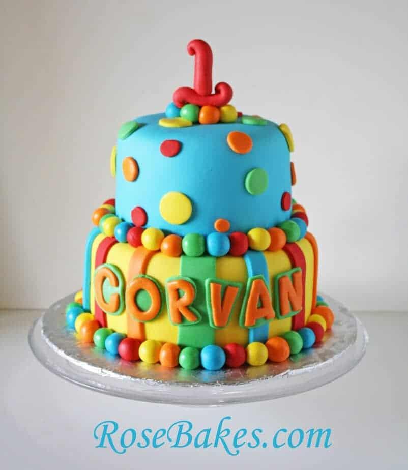Bright Stripes Amp Polka Dots 1st Birthday Cake