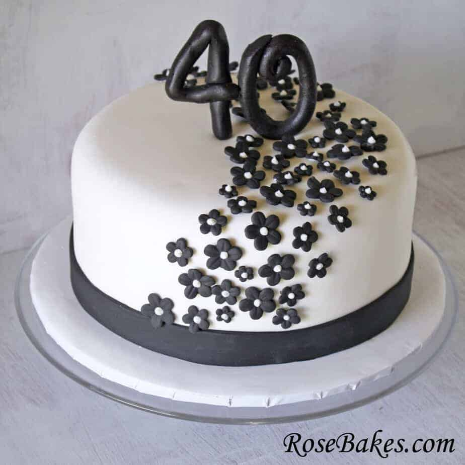 Black Amp White 40th Birthday Cake