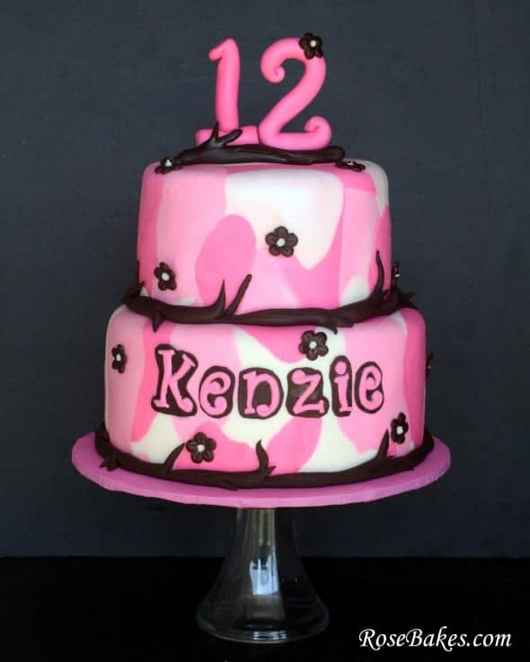 A Girly Pink  Brown Camo Cake